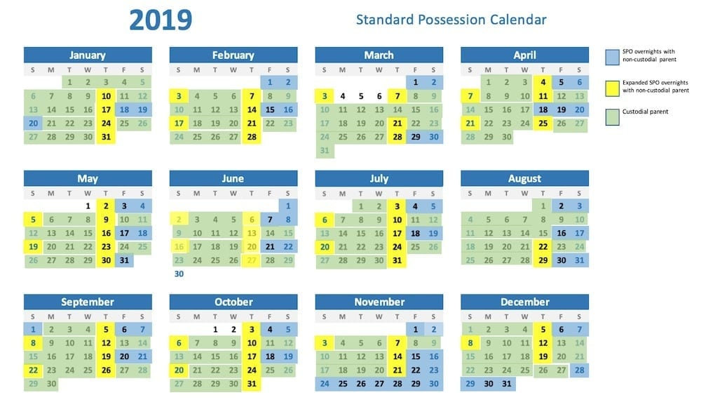 standard possession order calendar 2019